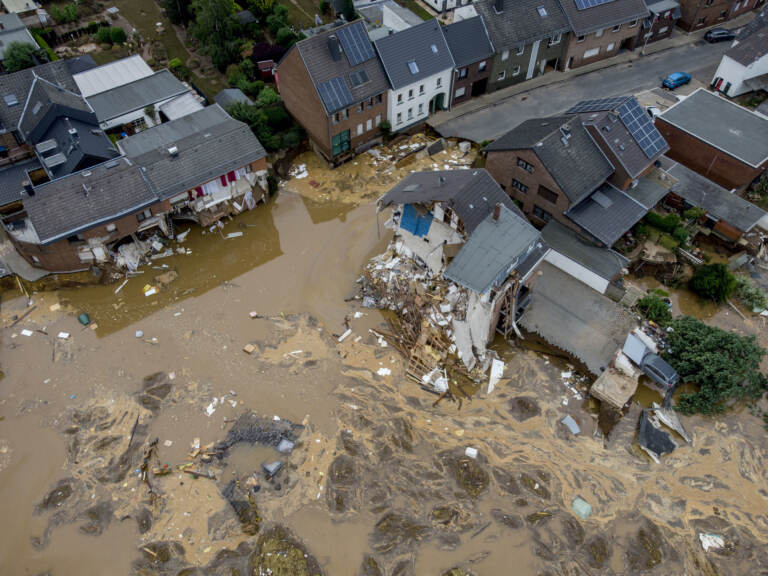 An overhead view of destroyed houses in Erftstadt-Blessem