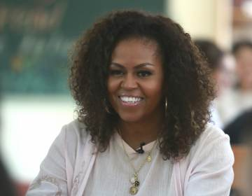 A closeup of Michelle Obama