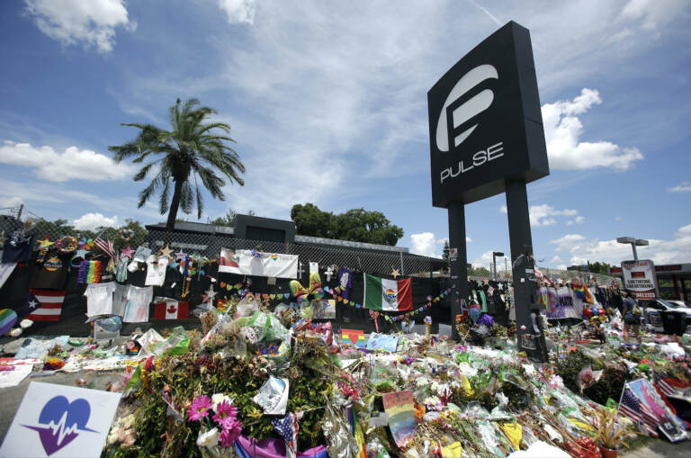 A makeshift memorial grows outside the Pulse nightclub