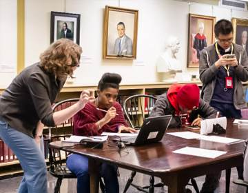 Students from the Community College of Philadelphia researching and working at Presbyterian Historical Society's archive