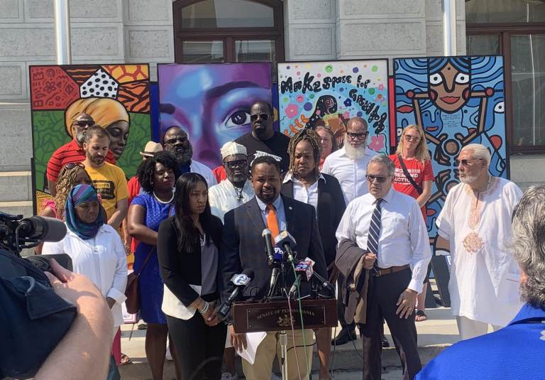 Senator Sharif Street speaking at an anti-gun violence press outside of City Hall in Philadelphia, July 6, 2021. (Sen. Street / Twitter)