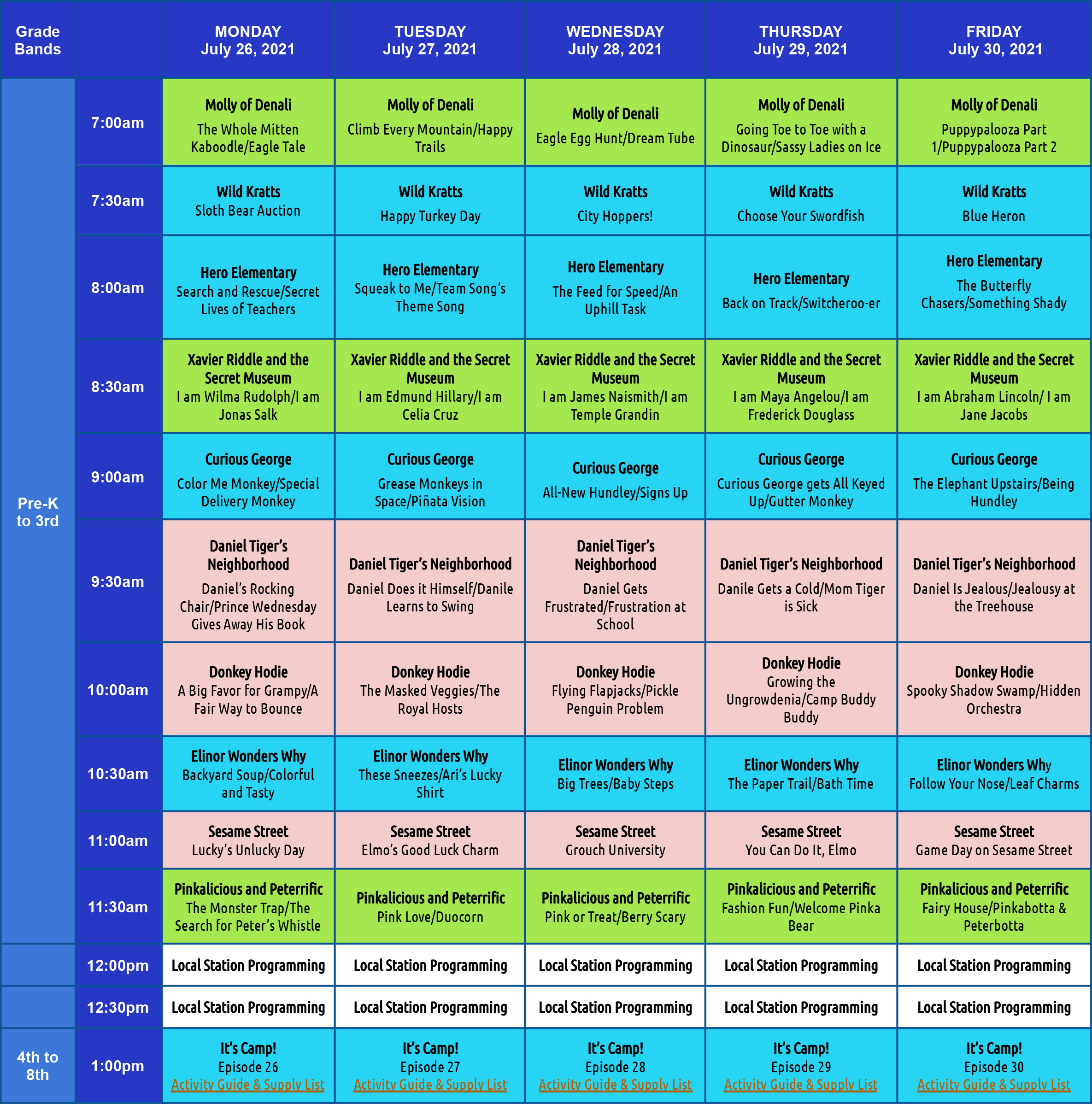 WHYY PBS Learning at Home TV Schedule for Monday, July 26 - Friday, July 30
