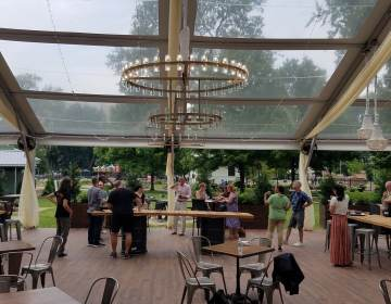 The main room at Franklin's View Beer Garden. (Peter Crimmins/WHYY)