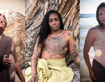 Three breast cancer patients are pictured individually, wrapped in fabric as gods and goddesses