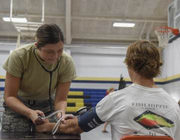U.S. Air Force Airman 1st Class Sarah Dickmann, a medical technician with the 187th Air Refueling Wing in Milwaukee, Wisconsin, takes part in a 2018 Innovative Readiness Training Mission in Monroeville, Alabama. (U.S. Air National Guard photo by Airman Cameron Lewis)