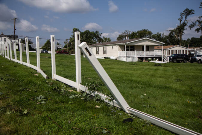 Residents of the Penn Valley Terrace in Lower Bucks County are cleaning up after a tornado ripped through the complex on Thursday, July 29, 2021. (Kimberly Paynter/WHYY)