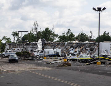 Major damage is seen at the site of a GMC Dealership in Bensalem