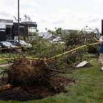 The GMC Dealership in Bensalem, Pa., suffered major damage due to a tornado that touched down on the evening of Thursday, July 29, 2021. (Kimberly Paynter/WHYY)