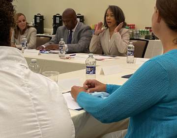 Delaware Congresswoman Lisa Blunt Rochester talks about plans for the future of I-95 in Wilmington during a round table community meeting Monday afternoon. (Mark Eichmann/WHYY)