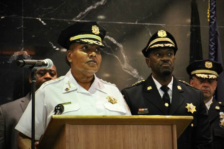 Philadelphia Sheriff Rochelle Bilal and Chief Deputy Vernon Muse announce the commencement of Operation Priority Takedown, an interdepartmental operation aimed at reducing gun violence. (Emma Lee/WHYY)