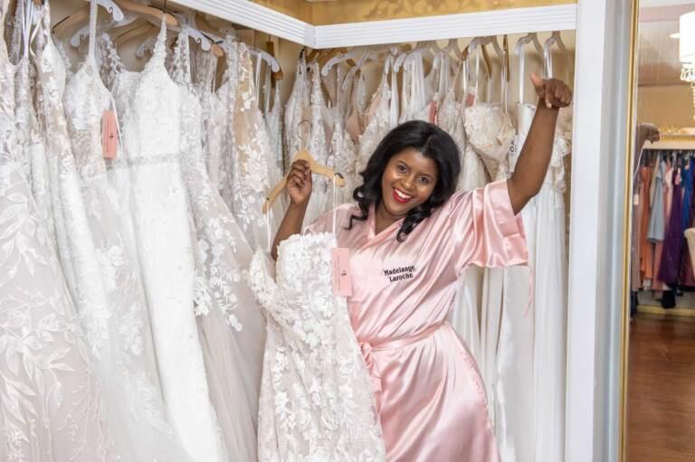 Madelange Laroche at her bridal shop. (Courtesy of Madelange Laroche)