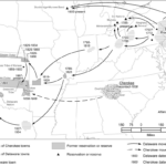 A map illustrates the displacement of the Lenape people.