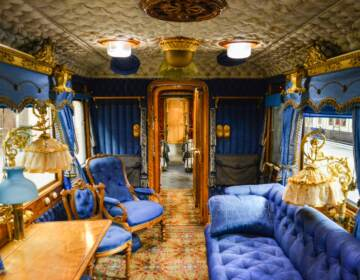 Interior view of Queen Victoria's train carriage
