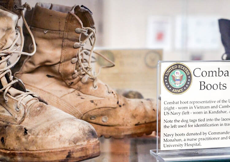 Old historical combat boots at Temple University's Shoe Museum