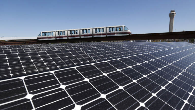 Rooftop solar panels are pictured at Newark Liberty International Airport