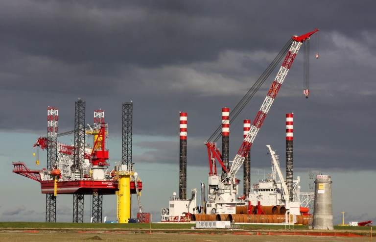 Offshore wind farm under construction.