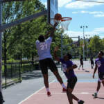 Young people play basketball at a 2020 YEAH Philly event at Kingsessing Rec Center. (YEAH Philly)