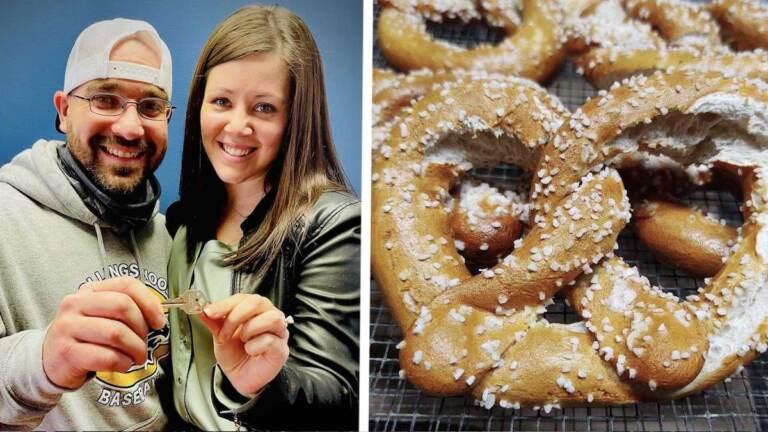 Anthony Panara and Charlene Delia hold up a key to their pretzel shop; a closeup of a soft pretzel