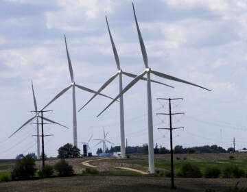 Wind turbines in a field in Adair, Iowa. Democrats' budget deal would use financial carrots and sticks to encourage utilities to shift to clean energy. (Charlie Neibergall/AP)