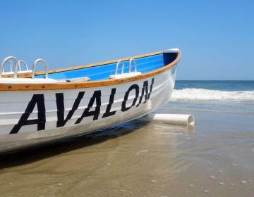 A boat is pictured on the beach in Avalon