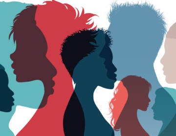 Silhouette profile group of men women and girl of diverse culture