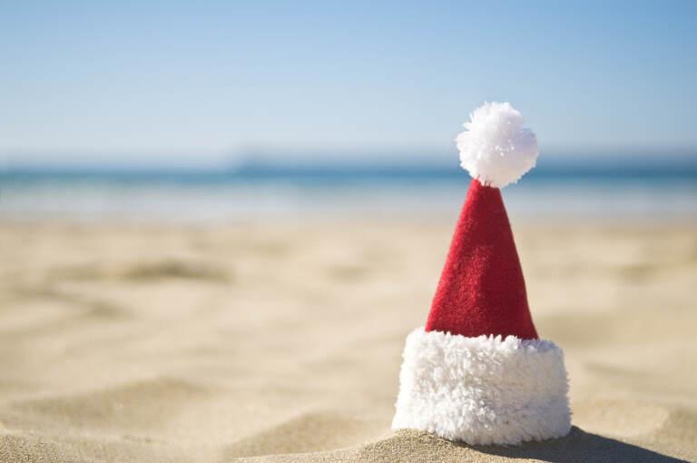 Christmas on the beach with santa hat