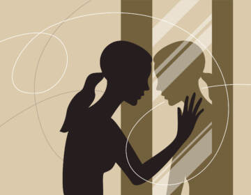 Illustration of a young woman standing and looking at her reflection in a mirror