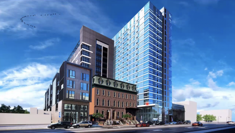 An artist's rendering shows the 13-story apartment tower Orens Brothers Real Estate plans to build