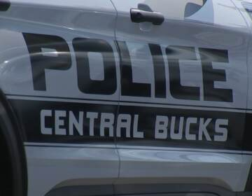 A closeup of a Central Bucks Police vehicle.