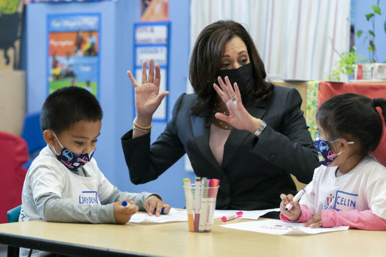 Vice President Kamala Harris talked about the child tax credit during a visit to  bilingual early childhood education school CentroNia in Washington, D.C, on Friday, June 11, 2021.(AP Photo/Manuel Balce Ceneta)