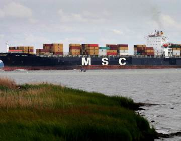 A container ship on the Delaware River.