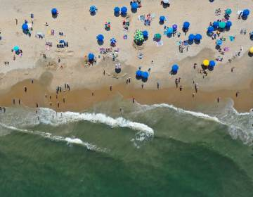 An overhead shot of the beach in Delaware.