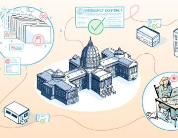 An illustration features the Pennsylvania Capitol Building and a web of emergency contracts.