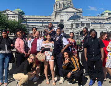 Participants of the youth advocacy programs at Philadelphia's Juvenile Law Center pose at the Pa. State Capitol with program managers Cathy Moffa (L) and Marcía Hopkins (R) COURTESY JUVENILE LAW CENTER