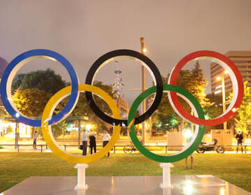The Olympic rings at Odori Park in Sapporo Hokkaido, Japan on Tuesday. (Masashi Hara/Getty Images)
