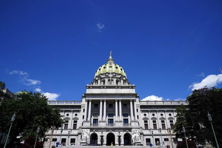 The exterior of the Pa. Capitol Building
