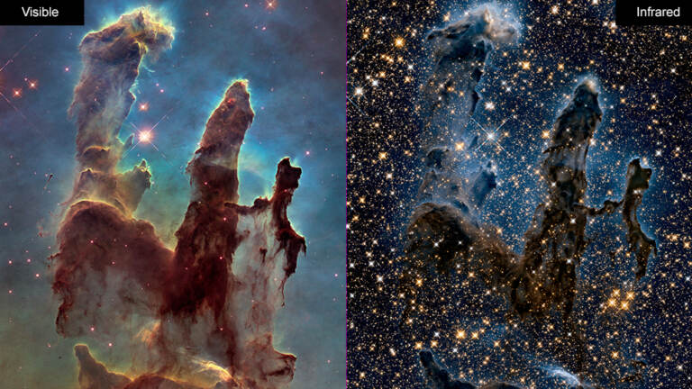 Images of the Eagle Nebula show the Hubble Space Telescope's ability to capture pictures in both visible (left) and infrared (right) light. NASA is celebrating the successful restart of the telescope's payload computer, opening the door to more observations. (NASA)