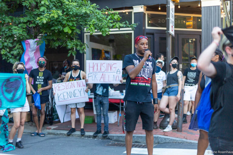 ACT UP protest outside of Mayor Kenney's condo. (Juno Rosenhaus / ACT UP)