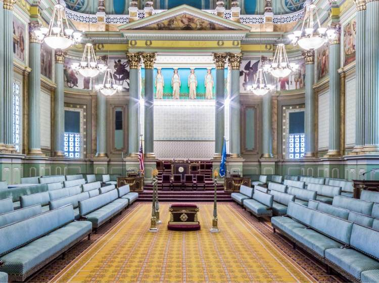 Interior view of The Masonic Temple in Philadelphia