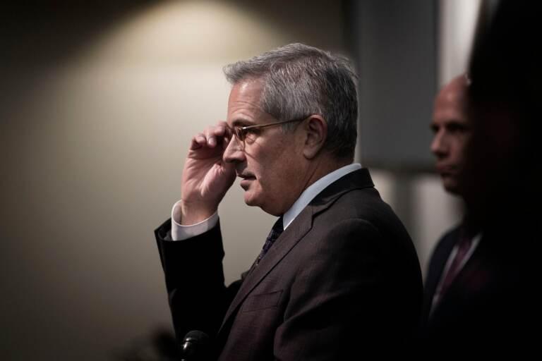 A side profile shot of Philadelphia District Attorney Larry Krasner.
