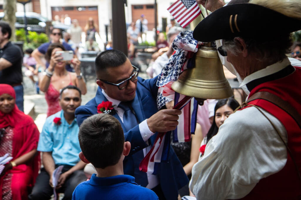 Gonzalo Ramirez participates in a Let Freedom Ring ceremony