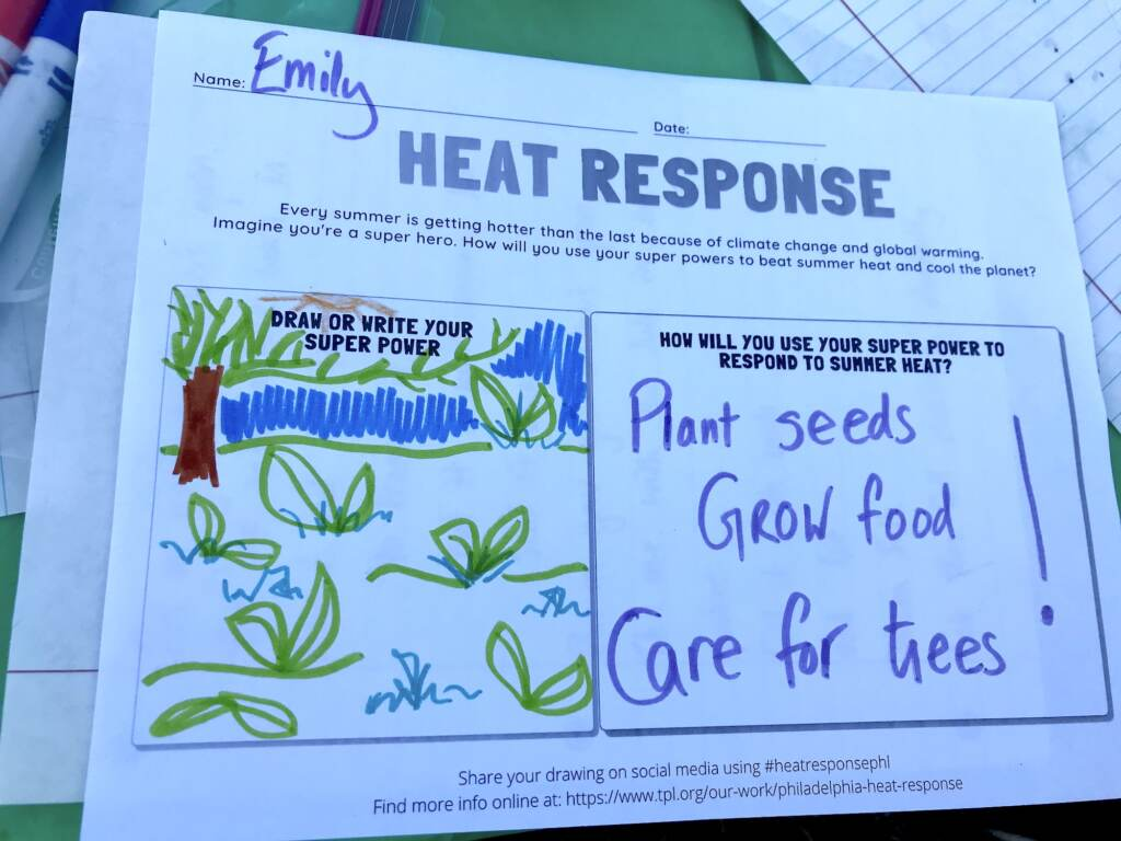A Seedlings coloring book prompt asks the reader to imagine using their super power to beat summer heat and cool the planet.