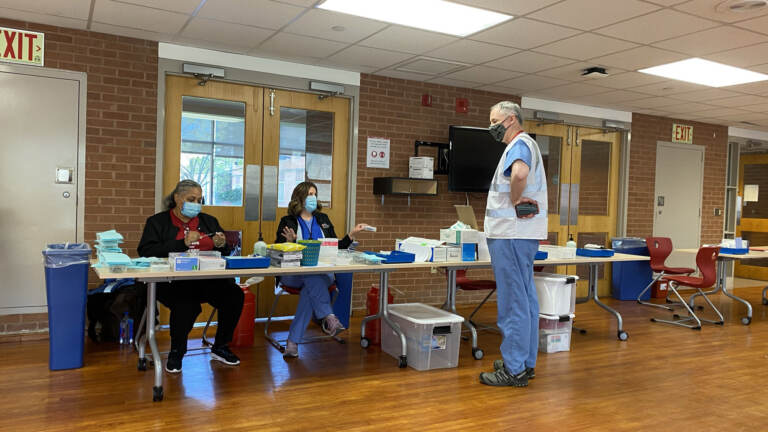 Health care workers at the Temple University vaccination clinic in April 2021 (Danya Henninger / Billy Penn)