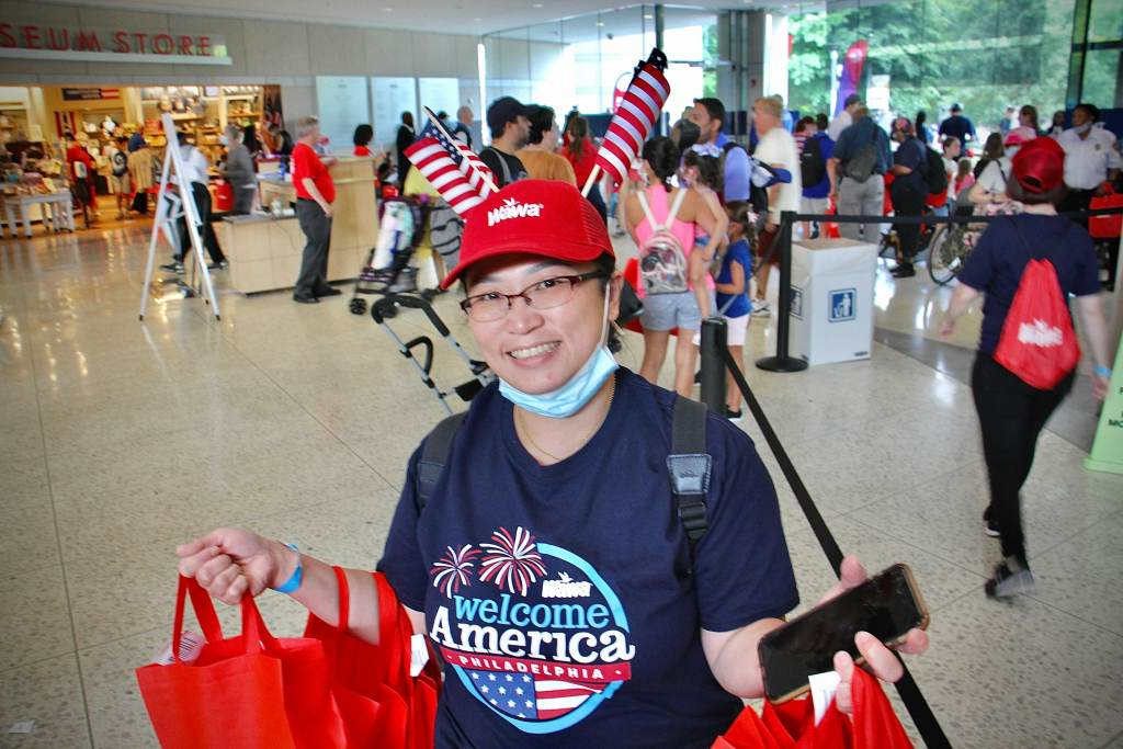 Sherly D'Alfonso of South Philadelphia hands out hoagies at the National Constitution Center