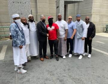 Anthony Wright met with DA Larry Krasner along with other exonerees. (Cherri Gregg / WHYY)