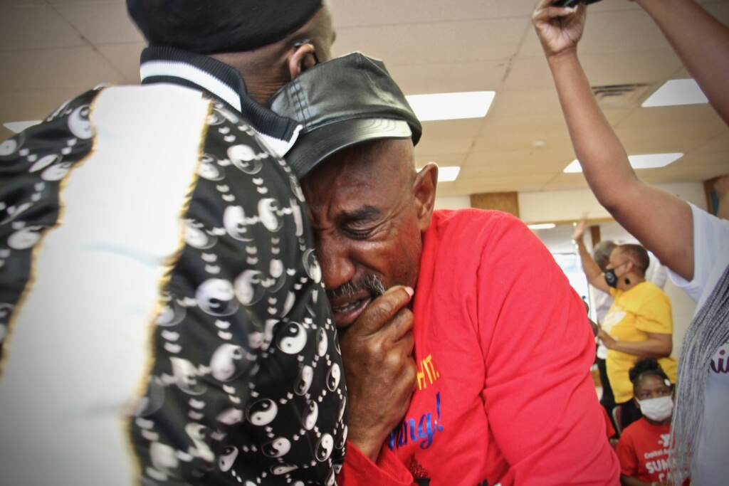 Trenton Track Club coach Al Jennings cries tears of joy
