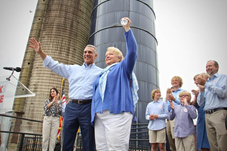 Jack Ciattarelli and Diane Allen wave to supporters during a press conference