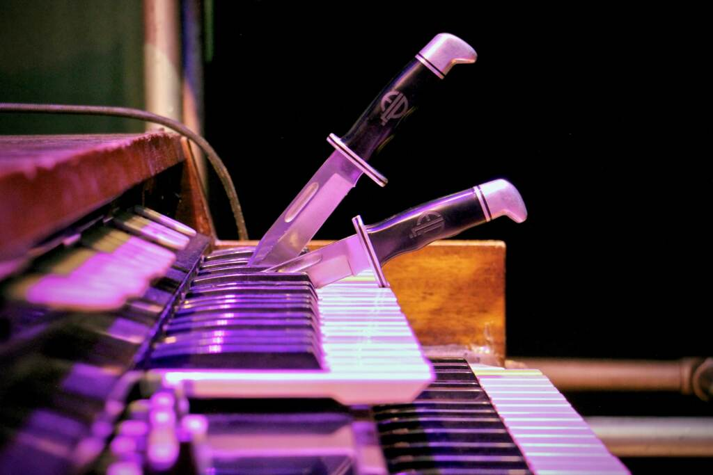 The daggers that Keith Emerson used to hold notes on his Hammond L100 organ are left in place