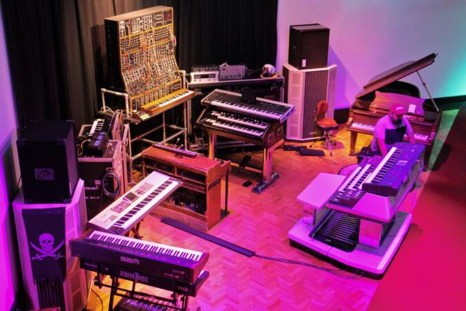 Keith Emerson's keyboard set-up is recreated in the studio