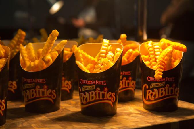 A closeup pf crab fries
